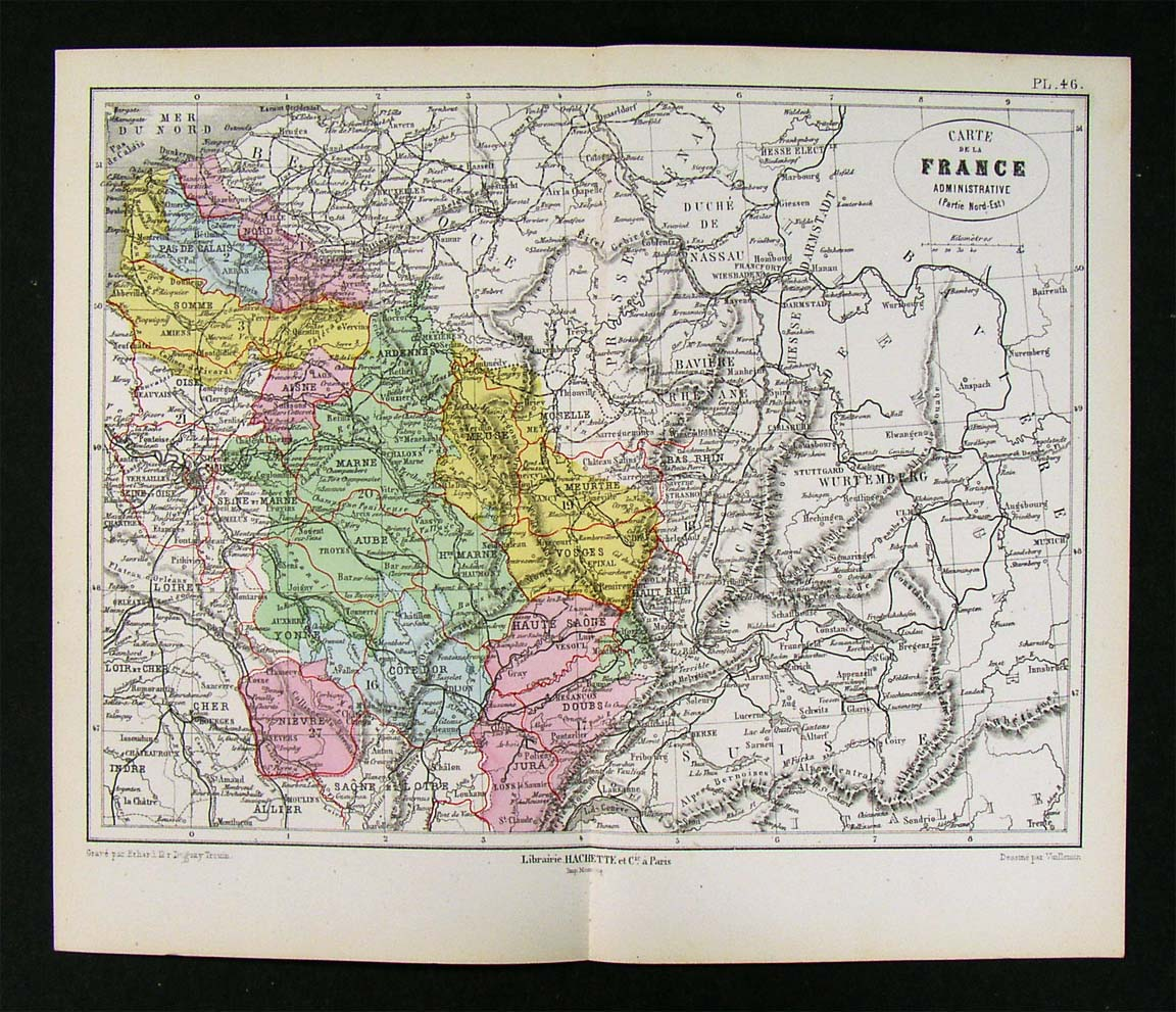 Map Of France Germany Switzerland.Details About 1872 Vuillemin Map Ne France Paris Germany Switzerland