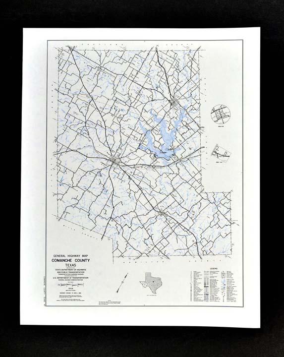 Details About Texas Map Comanche County Proctor Lake De Leon Gustine Sydney Downing