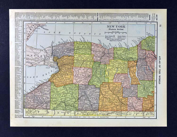 Details About 1910 Hammond Map West New York Niagara Falls Buffalo Rochester Ithaca Chautauqua