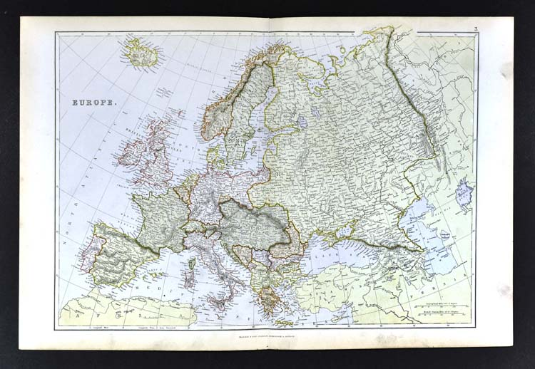 Map Of France England And Spain.1883 Blackie Map Europe Spain France Italy Germany Russia