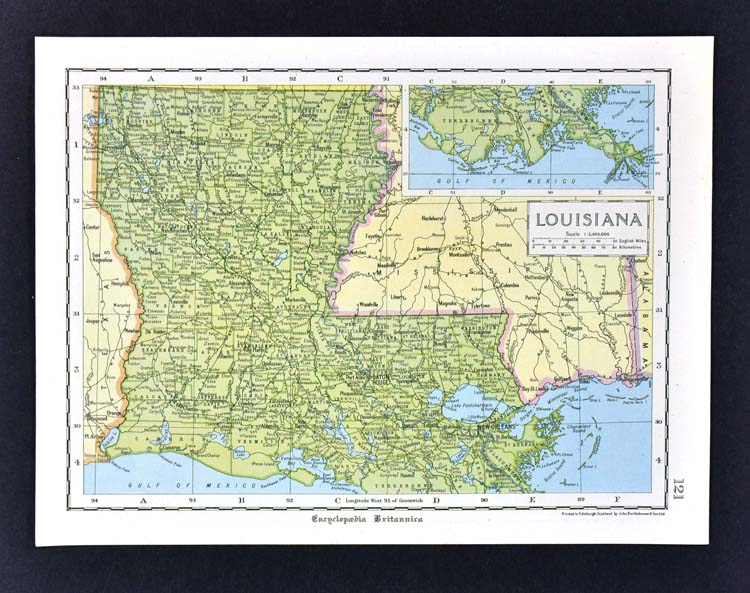 C 1925 Encyclopedia Britannica Map Louisiana New Orleans Baton