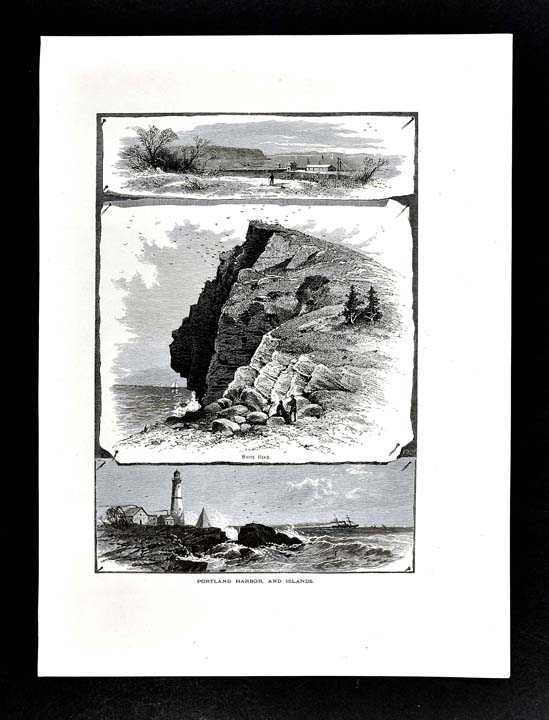 Details about 1872 Picturesque America Print - Portland Harbor Light House  White Head - Maine