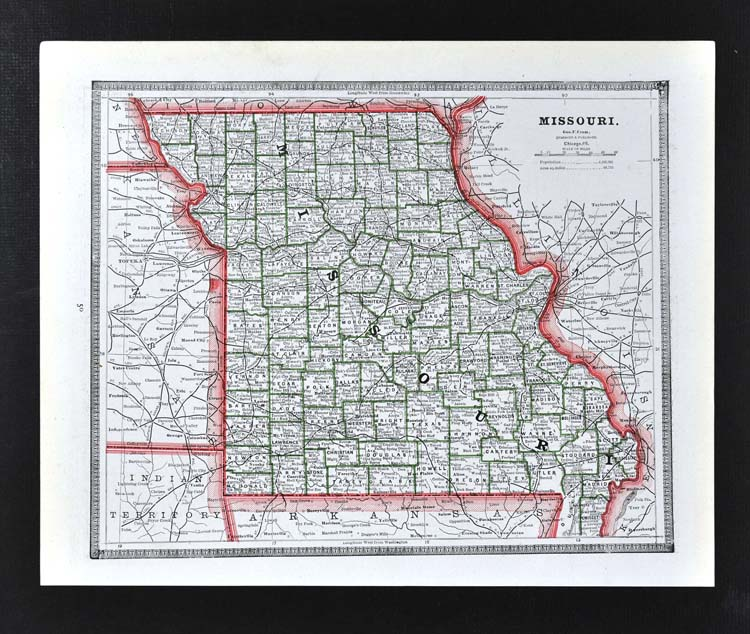 Details About C 1883 Geo Cram Map Missouri St Louis Columbia Jefferson Kansas City Sedalia