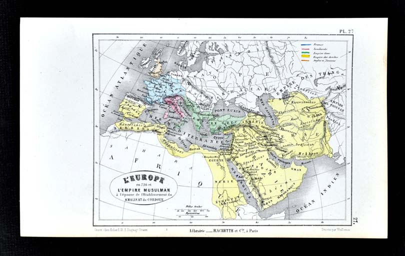 Details about 1877 Vuillemin Map - Muslim Empire Caliphate of Cordoba Spain  Europe Middle East