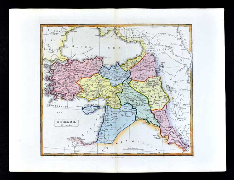 1839 Bell Map Turkey Middle East Syria Iraq Algezira Israel ...