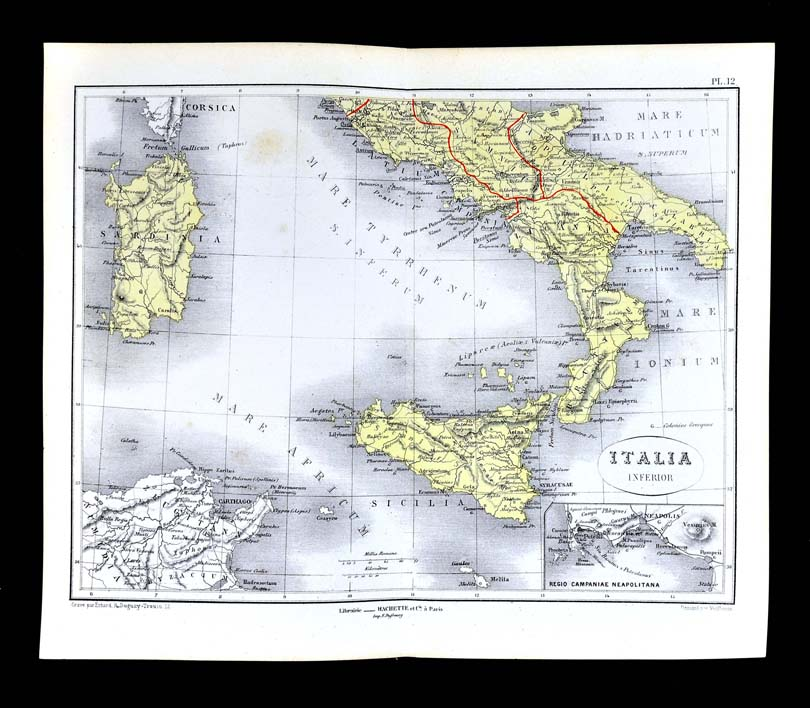 1877 Vuillemin Map - Roman Italy South Rome Roma Pompeii ... on ancient rome po river map, carthage colonies, carthage war elephants, carthage territory, corsica map, carthage port, carthage people, carthage greece, carthage harbor, syracuse map, carthage today, alps mountains map, tiber river map, carthage tunisia, carthage trade, pyrenees mountains map, vesuvius mountains map, carthage soldier,