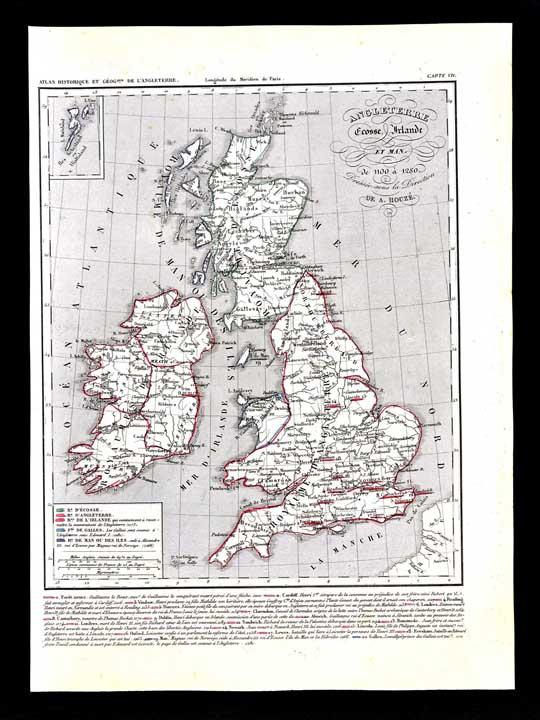 Map Of England 1100.1849 Houze Map Great Britain 1100 1280 England Ireland Scotland Isle