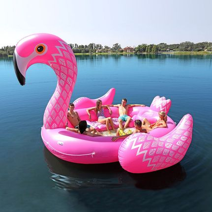 Superbe New Sun Pleasure Big Inflatable 6 Person Flamingo Island Water Float Lounge  Tube | EBay