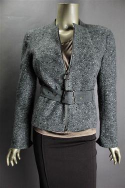 3700 New Akris Gray White Tobago Boucle Tweed Wool Nylon