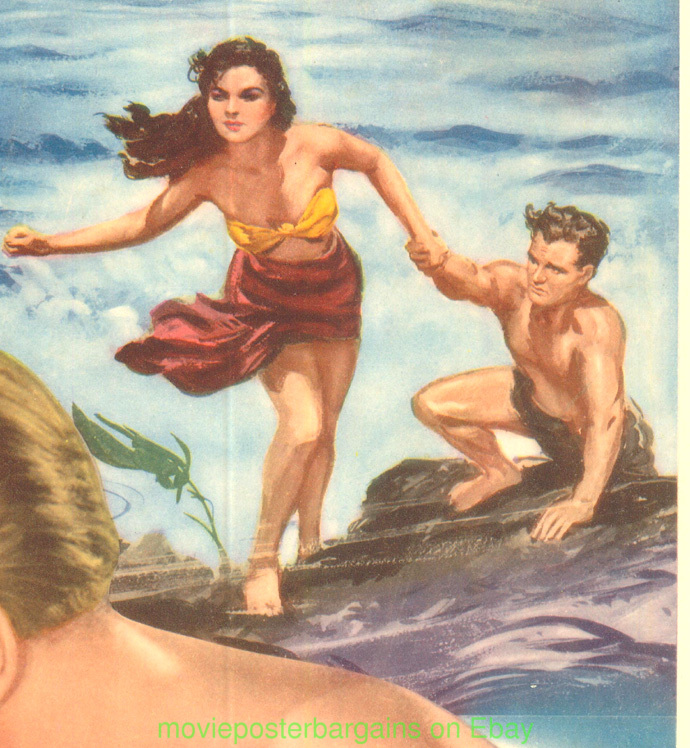 The Blue Lagoon (1949 film) THE BLUE LAGOON MOVIE POSTER JEAN SIMMONS 1949 LINENBACKED 14x36