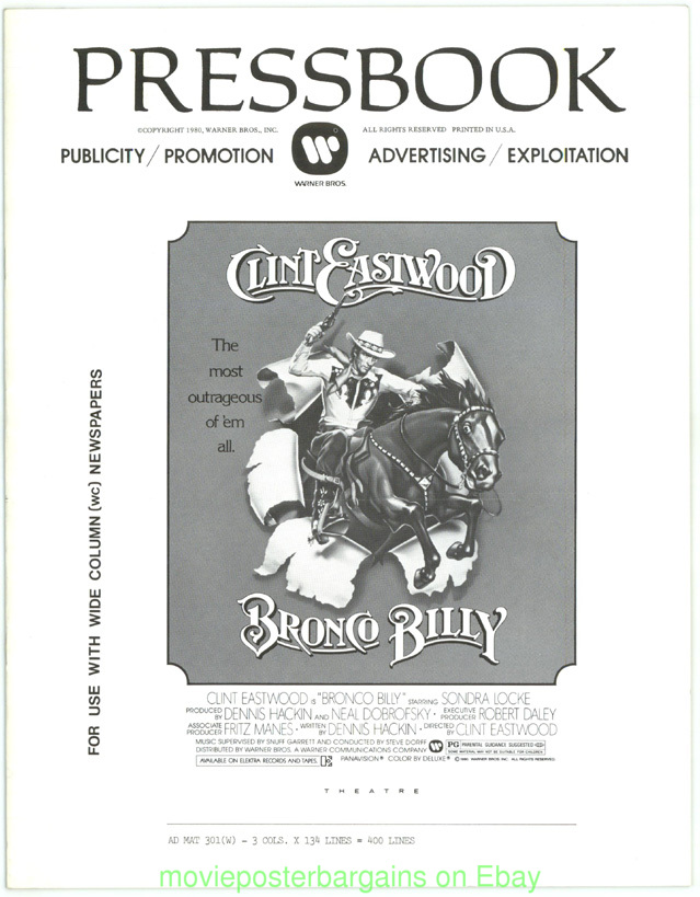 BRONCO BILLY PRESSBOOK CLINT EASTWOOD EXTREMELY NICE MOVIE POSTER ART ON COVER