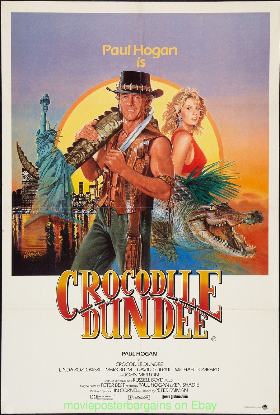 CROCODILE DUNDEE MOVIE POSTER 27x40 ORIGINAL FOLDED 1986 ...