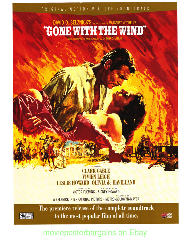 GONE WITH THE WIND MOVIE POSTER 1990's Soundtrack Promo ...