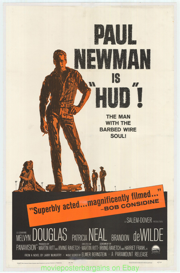 hud movie poster paul newman linenbacked one sheet vfine