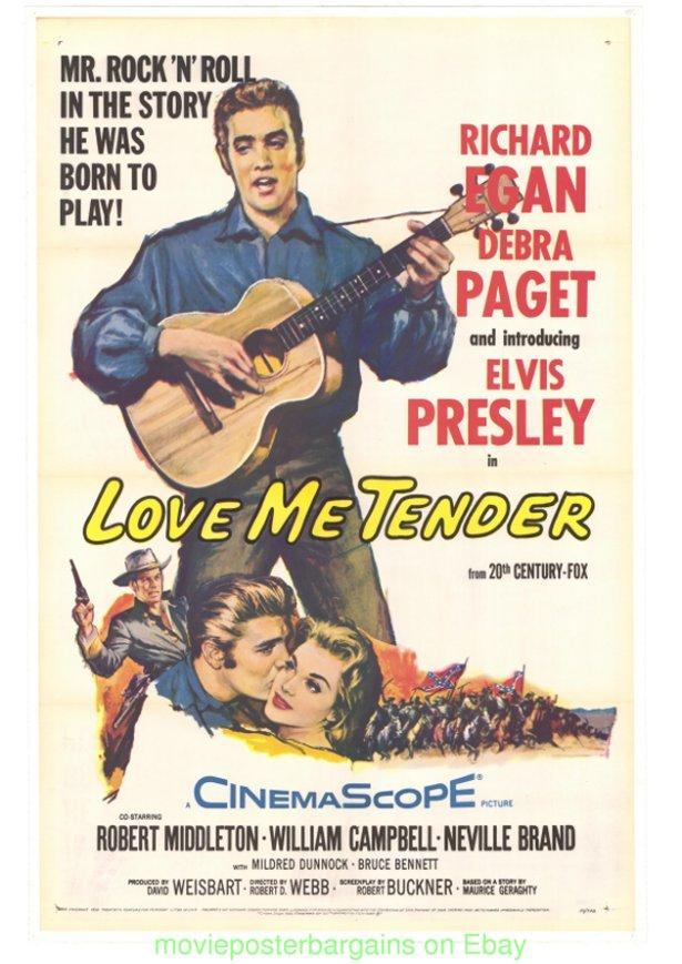 2b175cd4f7555 LOVE ME TENDER MOVIE POSTER Original Folded 27x41 On Linen 1956 ...