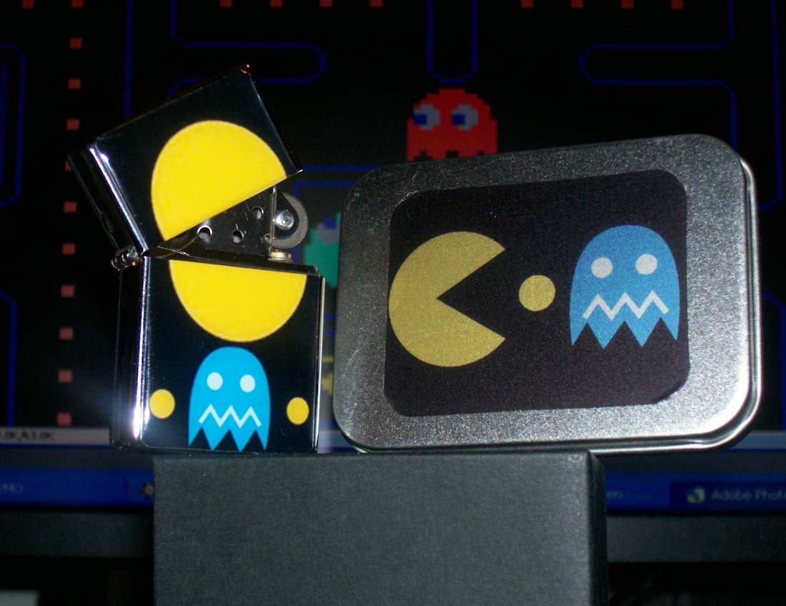 Pac Man Lighter and Tin with COA new never used