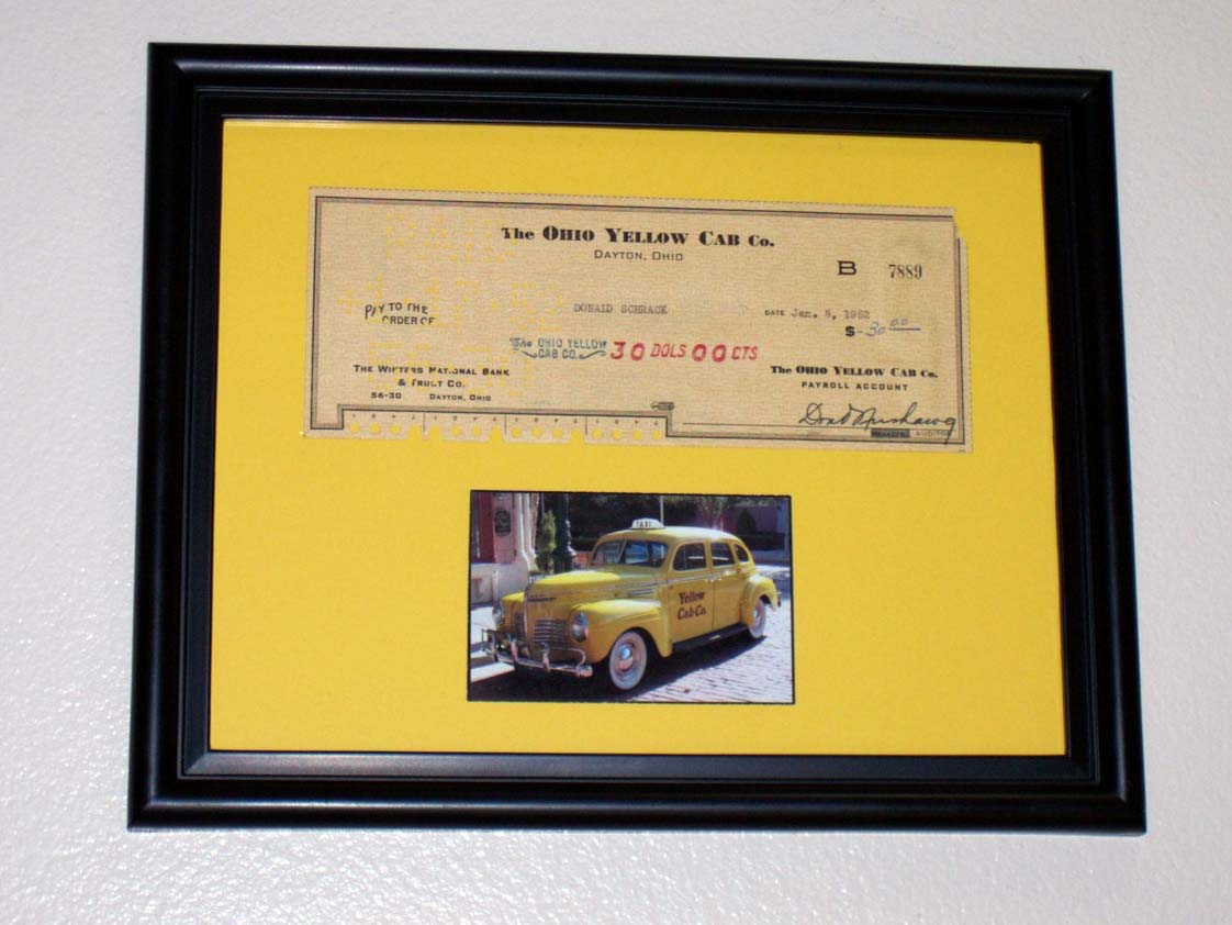 1 1 Framed 1951 Yellow Cab Company Check taxi with COA