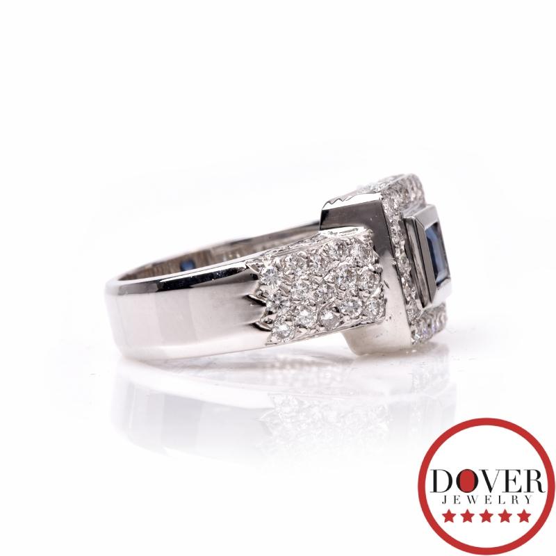 Mayors Diamond 1 35ct Sapphire 18K White Gold Engagement Ring 7 7 Grams EBay
