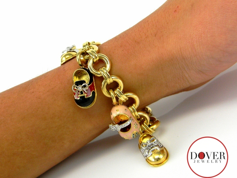 Aaron Basha Diamond 18K Gold Baby Shoe Charm Bracelet ...