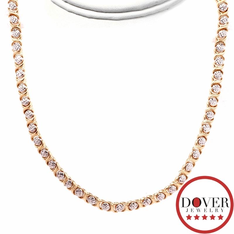estate 14k two tone gold xoxo link necklace 20 7 grams nr