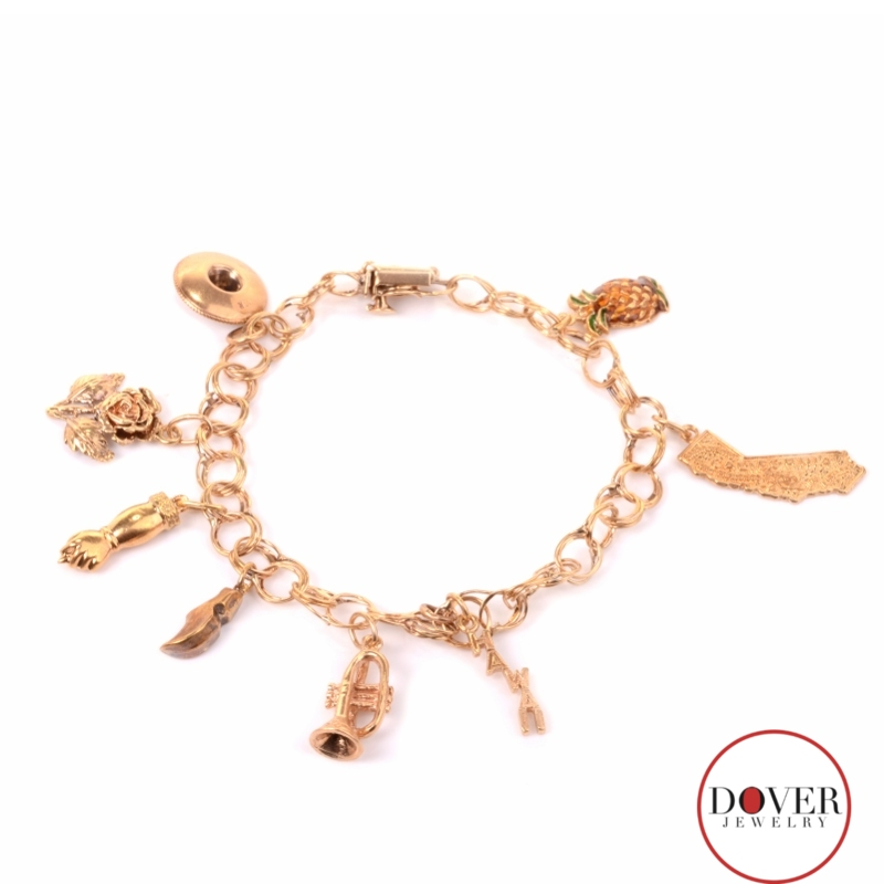 Vintage 14k Gold Charm Bracelet: Antique 14K Yellow Gold Nine Charm Link Bracelet 16.1