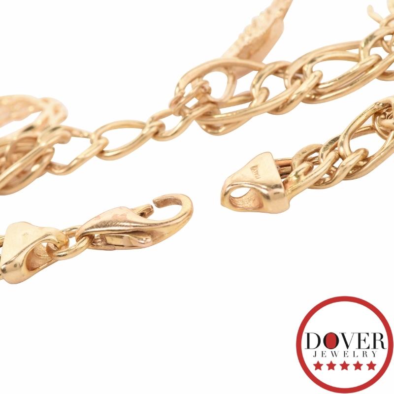 Italian Link Charm Bracelet: Italian 14K Yellow Gold Five Beach Charm Link Bracelet 10