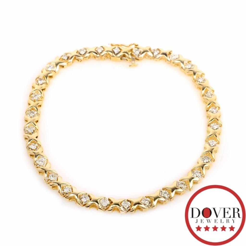 Xoxo Gold Bracelet: Estate Diamond 10K Yellow Gold XOXO Tennis Bracelet 7.8