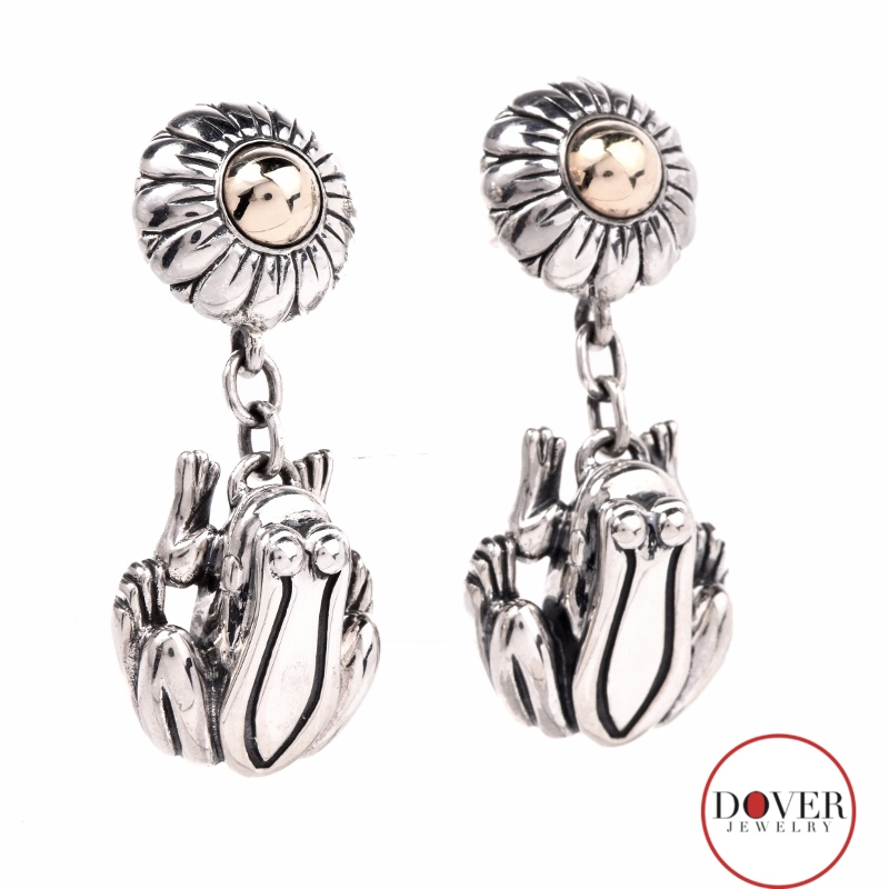 Barry kieselstein cord sterling silver frog flower dangle for Barry kieselstein cord jewelry