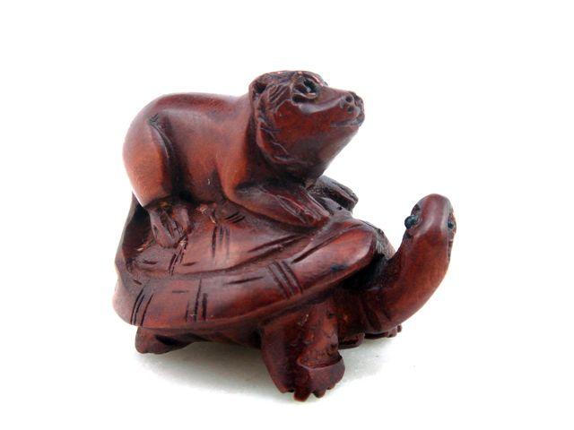 Boxwood hand carved netsuke sculpture miniature tiger