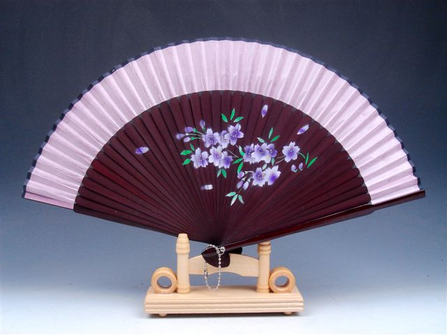 Chinese Fan Stand : Chinese flower blossoms folding fan hand wall decor w