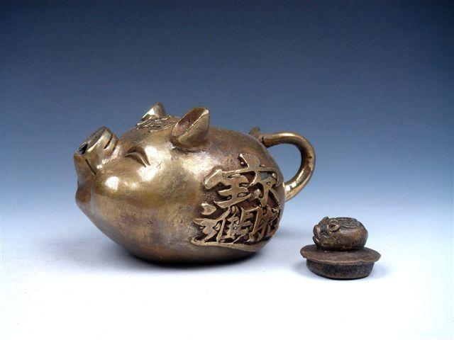 Vintage Brass Crafted Zodiac Pig Piggy Head Shaped Unique