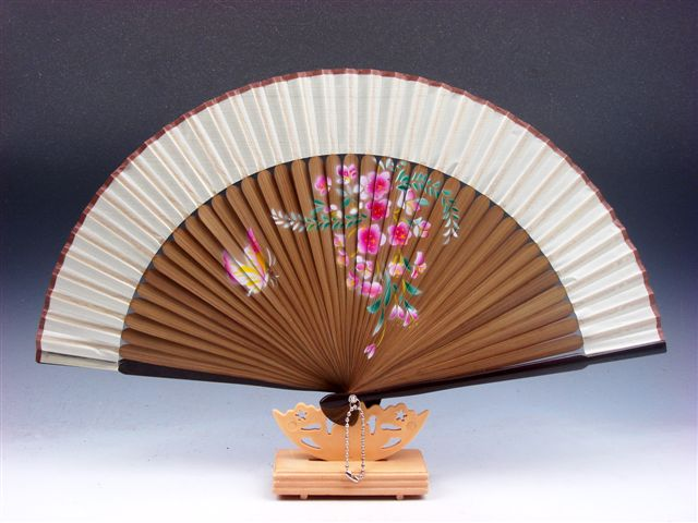 Chinese Fan Stand : Chinese flowers butterfly folding fan hand wall