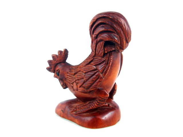 Boxwood hand carved netsuke sculpture miniature rooster