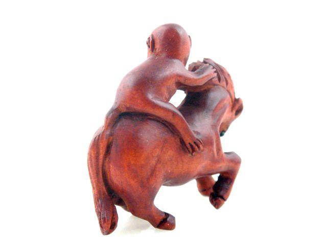 Boxwood hand carved netsuke sculpture miniature monkey