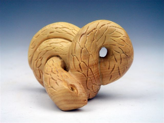 Boxwood hand carved netsuke sculpture miniature curly