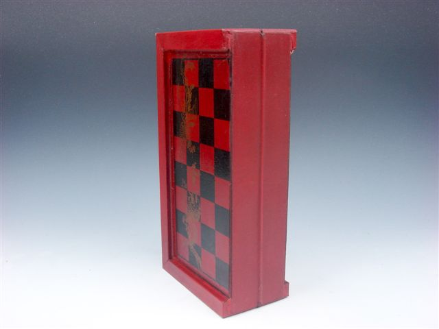 Chess game set 32 terracotta warrior pieces wood carry box board brass handles ebay - Chess board display case ...