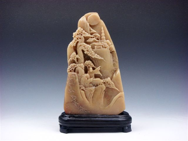 Vintage shou shan stone hand carved in relief pine trees