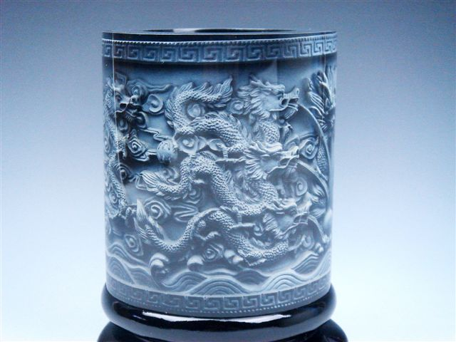 Top quality stone carved in relief dragons pearl ball