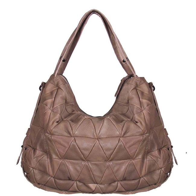 Brand New Camel Brown Leather Hobo Diamond Metal Stud Purse Handbag