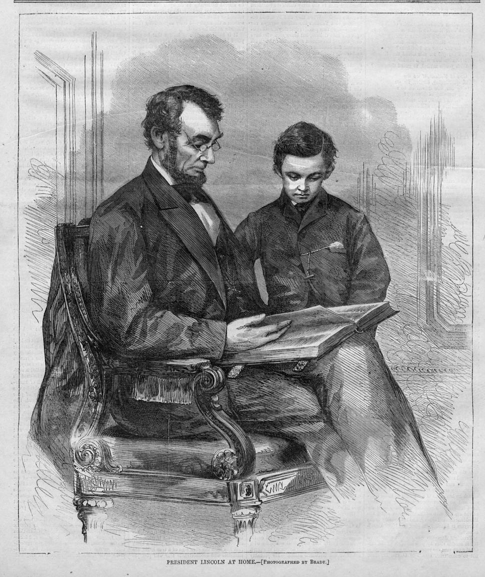 PRESIDENT ABRAHAM LINCOLN READING TO SON TAD, 1865 ANTIQUE ...