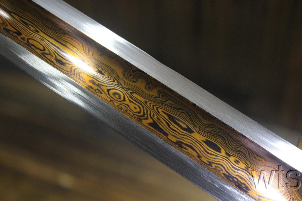 Japanese Komurasaki T10 Folded Red Acid Dye Ninjato Straight Blade Sword