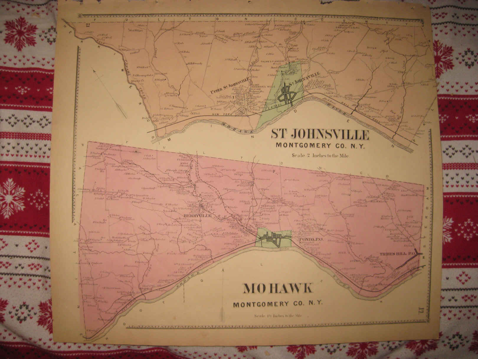 ANTIQUE ST JOHNSVILLE MOHAWK FONDA TRIBES HILL MONTGOMERY COUNTY NEW YORK  MAP NR | eBay