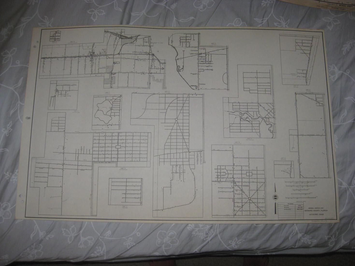 Detail Map Of Florida.Huge Rare Antique 1956 Broward County Florida Map Detail Maps Fine