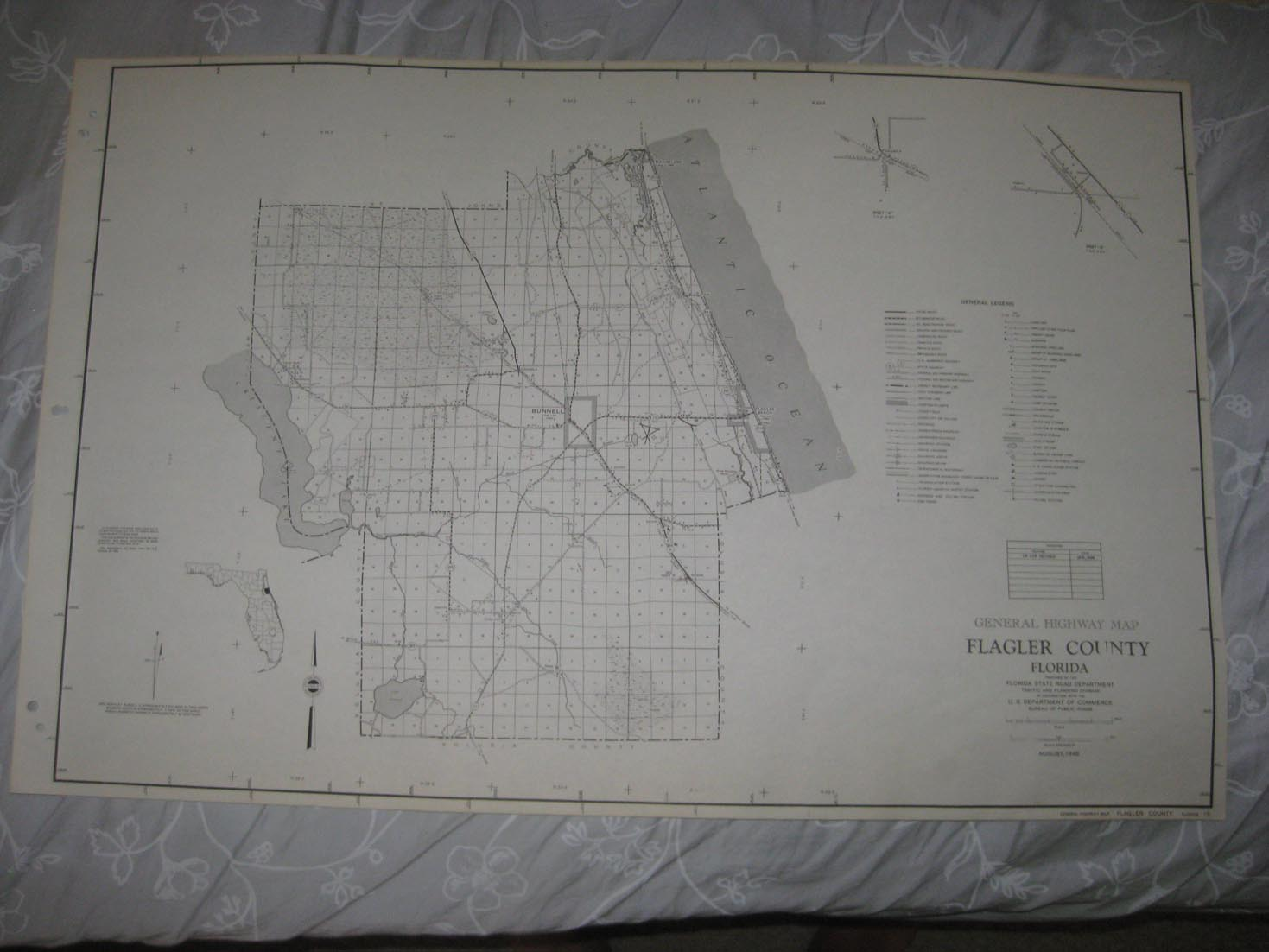 Huge Rare Antique 1956 Flagler County Florida Dated Map Bunnell