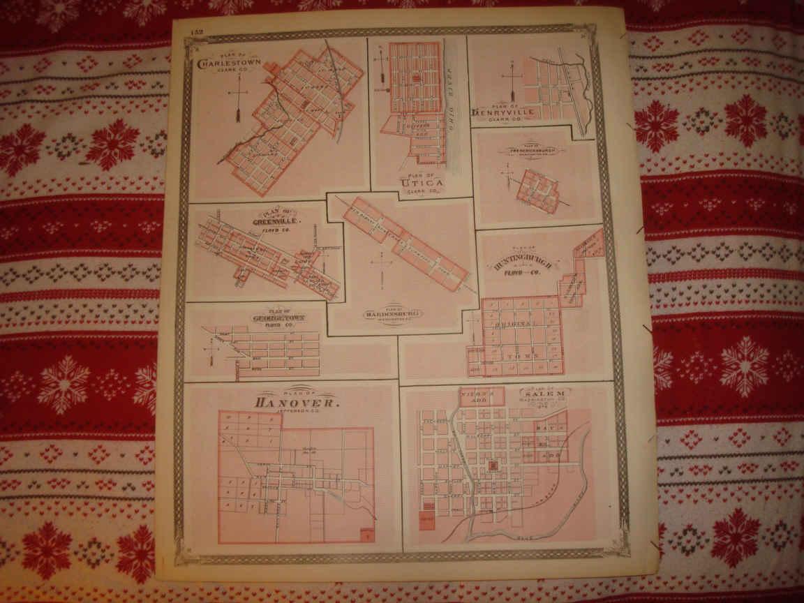 ANTIQUE 1876 SALEM CHARLESTOWN UTICA HUNTINGBURG UTICA PLYMOUTH INDIANA on westport indiana map, chelsea indiana map, cambridge indiana map, galena indiana map, bethlehem indiana map, needham indiana map, burket indiana map, united states indiana map, scottsburg indiana map, west washington indiana map, burlington indiana map, wawasee indiana map, bartlett indiana map, chalmers indiana map, nabb indiana map, edwardsport indiana map, portsmouth indiana map, belmont indiana map, canton indiana map, burnettsville indiana map,