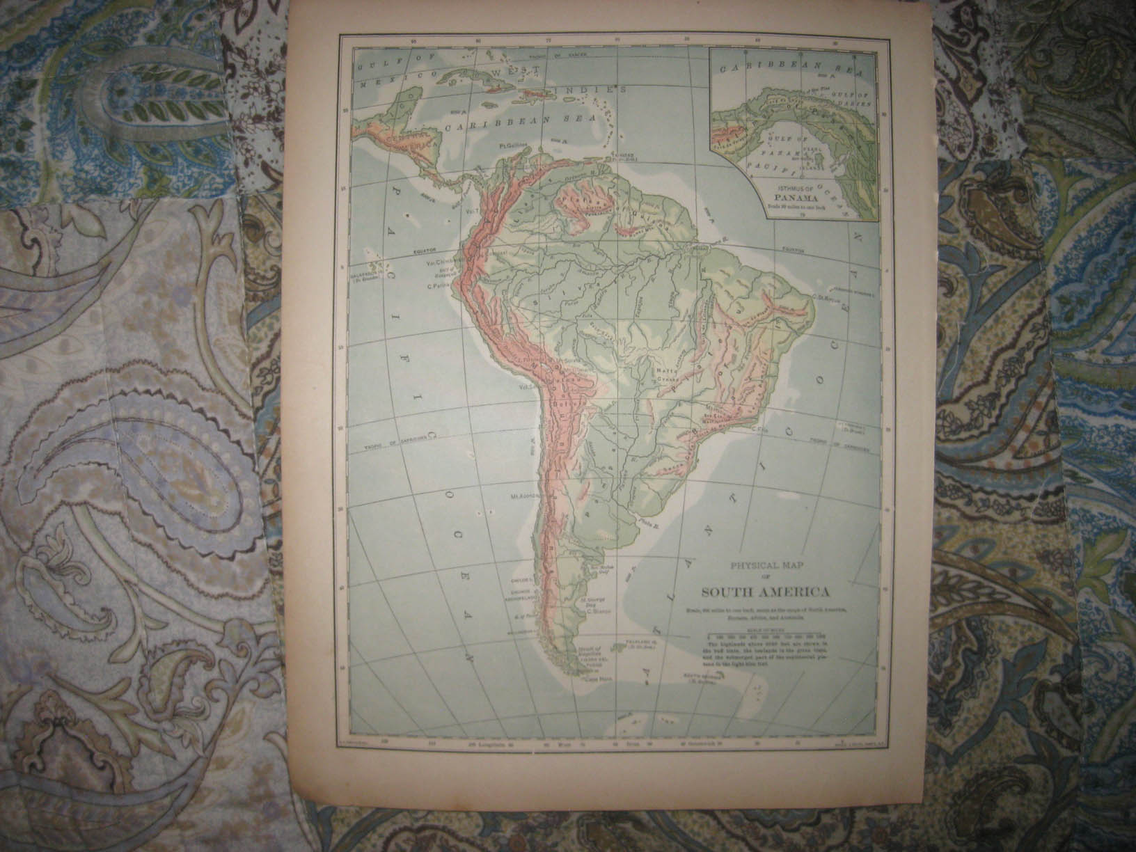 Antique 1901 South America Physical Geology Map Panama Canal Brazil