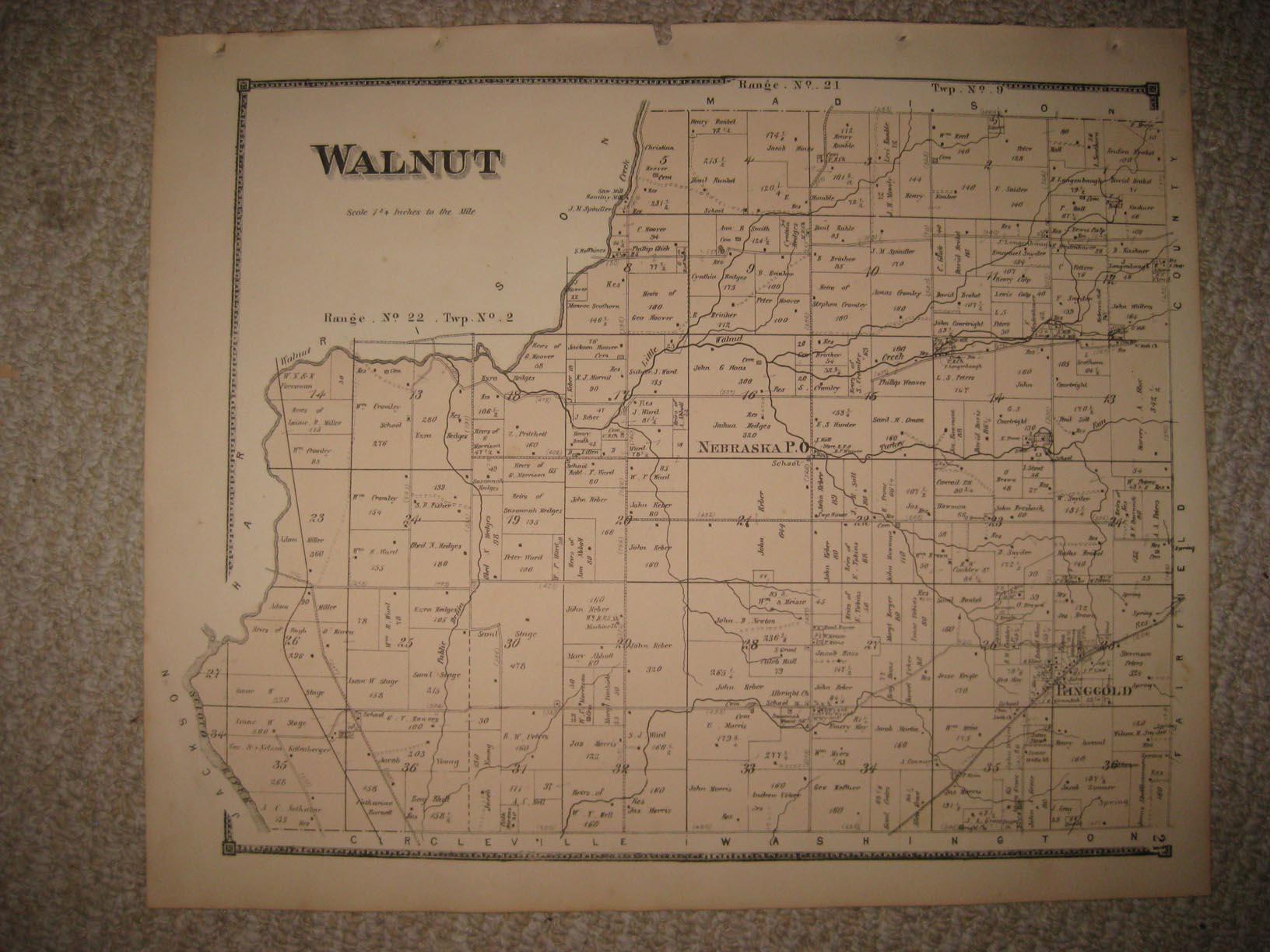 Antique 1871 Walnut Township Nebraska Pickaway County Ohio