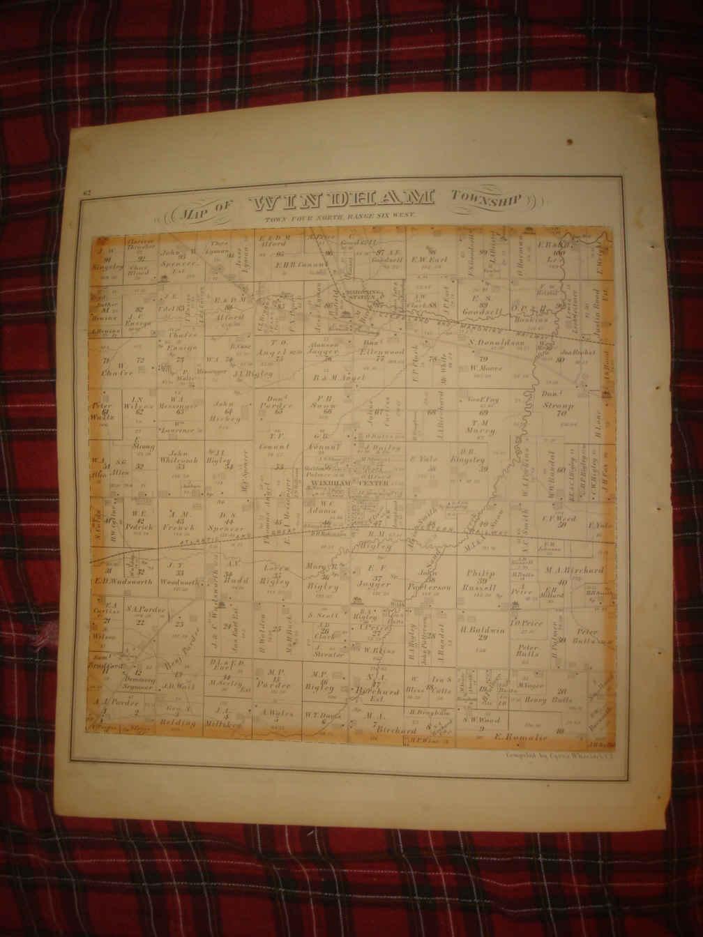Antique 1874 Windham Center Franklin Township Portage County Ohio