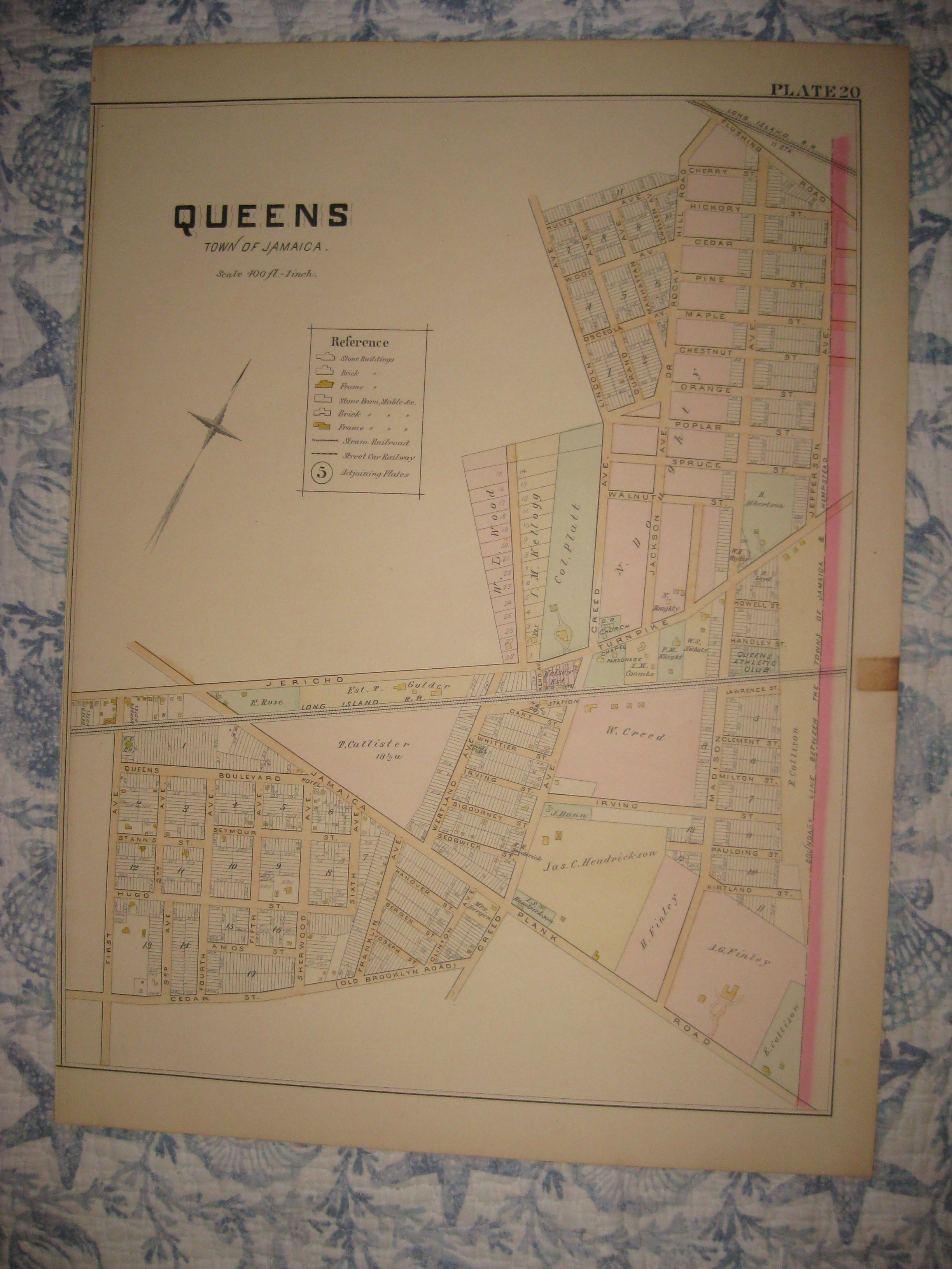 Map Of New York Jamaica.Large Vintage Antique 1891 Queens Jamaica New York City Handcolored
