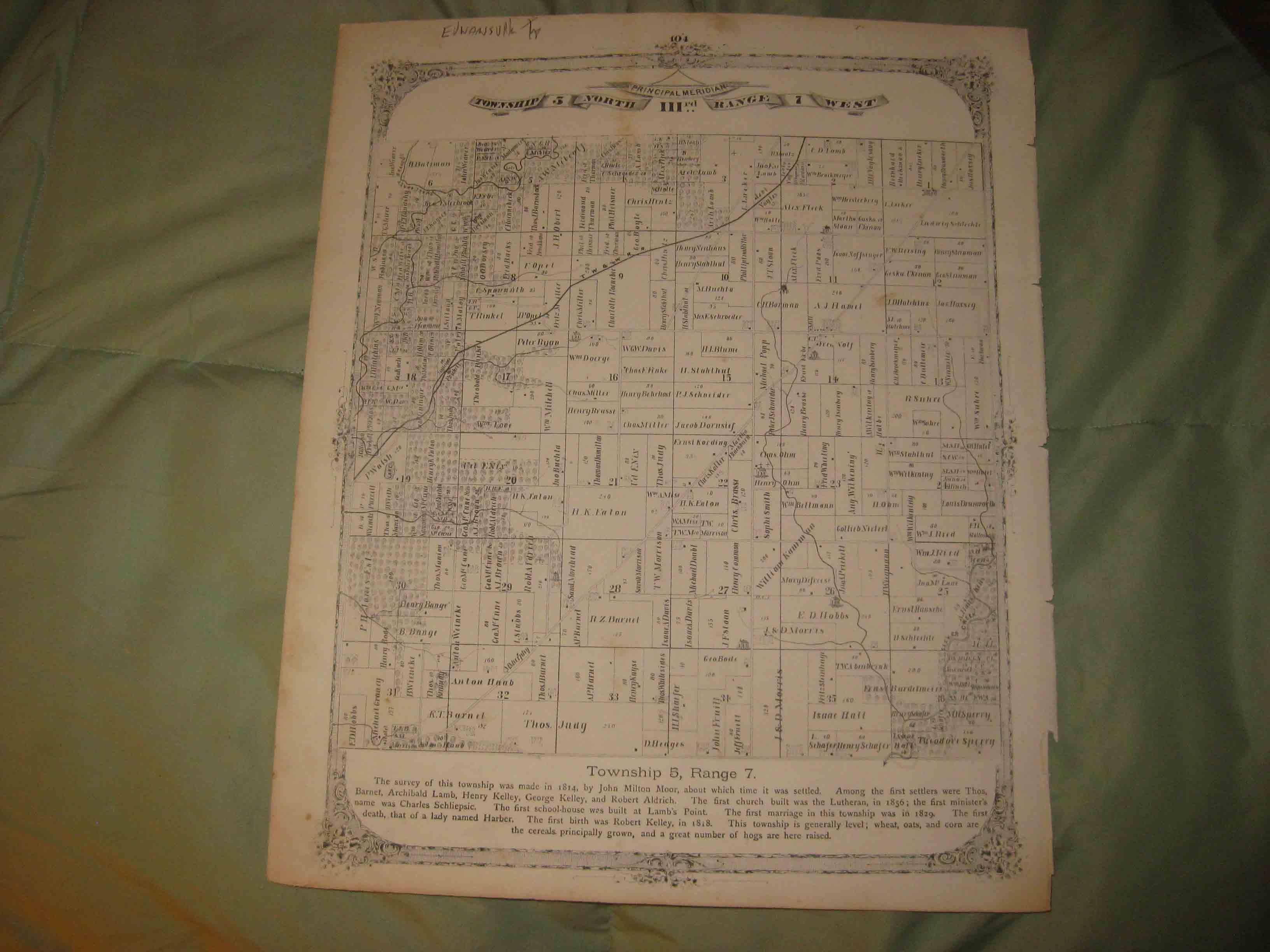 Antique 1873 Edwardsville Township Madison County Illinois Map